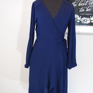 ASTR The Label Anthropologie Navy Tie Wrap Dress